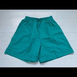 Vintage high waisted cotton turquoise shorts
